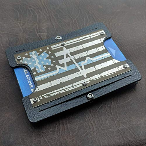 (First Responders Steel Edition. Minimalist Holstex Tactical Wallet Carbon Fiber Texture With Stainless Steel RFID Shield Front Plate. Multi Tool and Money Clip.)