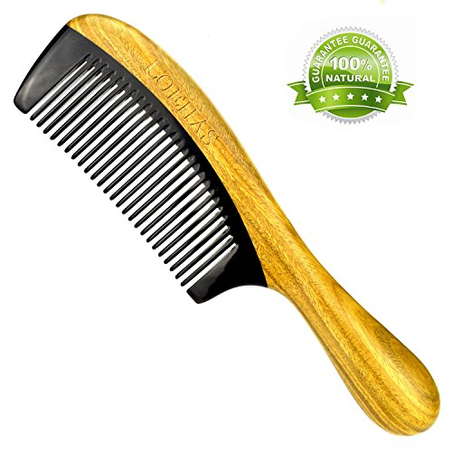 LOEHAS Natural Sandalwood Buffalo Horn Wooden Comb No Static Detangling Fine Tooth Hair Combs for Women by LOEHAS