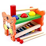 ANONE Classic Wooden Pounding Bench Toy with Slide Out Xylophone for Toddlers