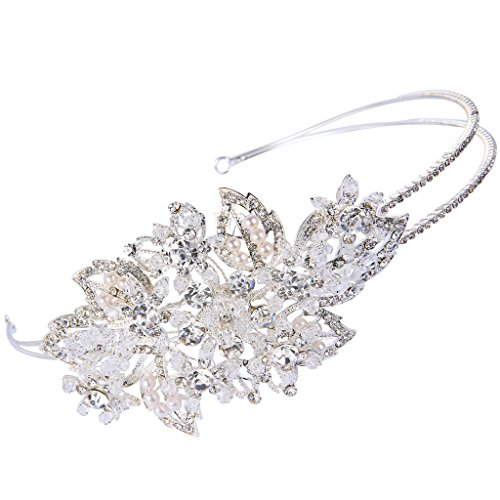 EVER FAITH Silver-Tone Austrian Crystal Cream Simulated Pearl Bead Elegant Flower Bridal Hair Band Clear
