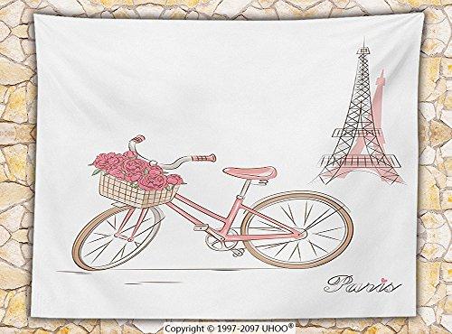 Vintage Decor Fleece Throw Blanket Vintage Bike with Roses in Basket Paris Eiffel Tower Landscape French Floral Valentines Throw Pink White