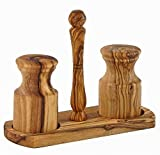 Le Souk Olivique Olive Wood Salt and Pepper Shakers with Holder