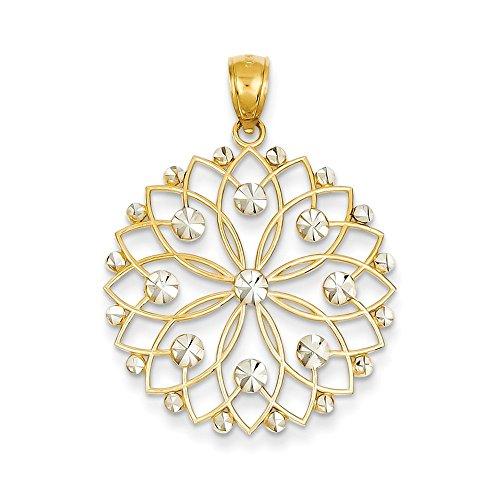 Jewels By Lux 14k & Rhodium Diamond-cut Flower Pendant