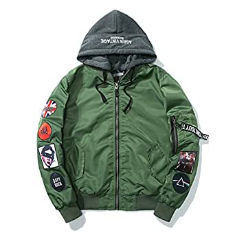 Men Punk Rock Hooded Thick Men's Jacket Outwear Autumn Men Coat Bomb Baseball Jackets green thick M