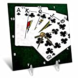 3dRose Alexis Photo-Art - Poker Hands - Poker Hands Royal Flush Clubs - 6x6 Desk Clock (dc_270297_1)