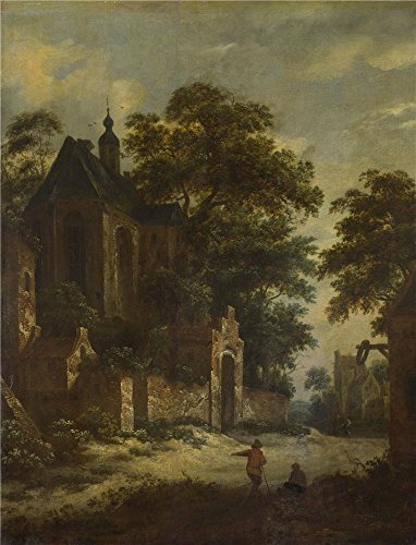 oil-painting-roelof-van-vries-a-view-of-a-village-24-x-31-inch-61-x-80-cm-on-high-definition-hd-canv