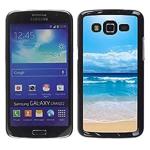 LECELL--Funda protectora / Cubierta / Piel For Samsung Galaxy Grand 2 -- Waves Blue Beach --