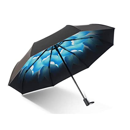 CJC Paraguas Sombrillas Tres plegables, sombrilla proteccion solar protección UV Manual Retro Pequeño fresco (