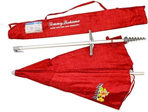 Tommy Bahama Sand Anchor 7 feet Beach Umbrella With Tilt and Telescoping Pole- Red