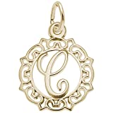 Rembrandt Charms, Letter C, 10K Yellow Gold