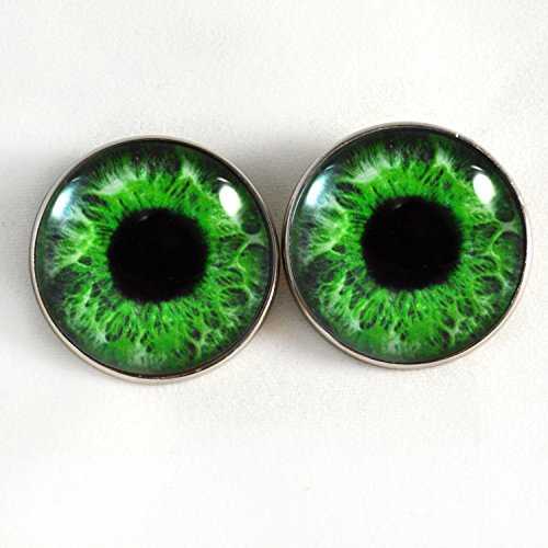 Intense Green Human Sew On Glass Eyes 30mm Buttons with Loop for Crocheted Doll Stuffed Animal Soft Sculptures or Jewelry Making Crafts - Set of 2 by Megan's Beaded Designs
