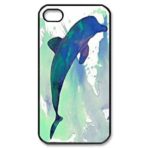 [Dolphin] Happy Dolphin Watercolor Case for IPhone 4/4s, IPhone 4/4s Case {Black}
