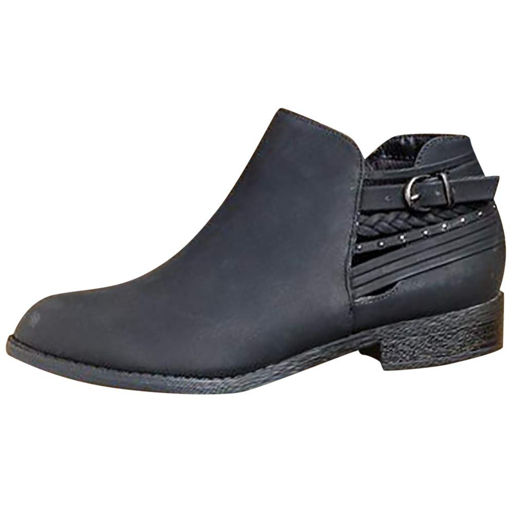 Ankle Boots for Women Wide Width Ankle Booties Classic Zipper Low Heel Pointed Toe Slip On Loafers Office Dress Shoes (US:6.5(37.5), Black)