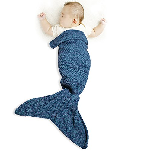 Costume Darling Dollie (Funwill Mermaid Tail Blanket Knit Crochet for Baby Swaddling Sleeping Bag , for Baby Photo Photography (Blue))
