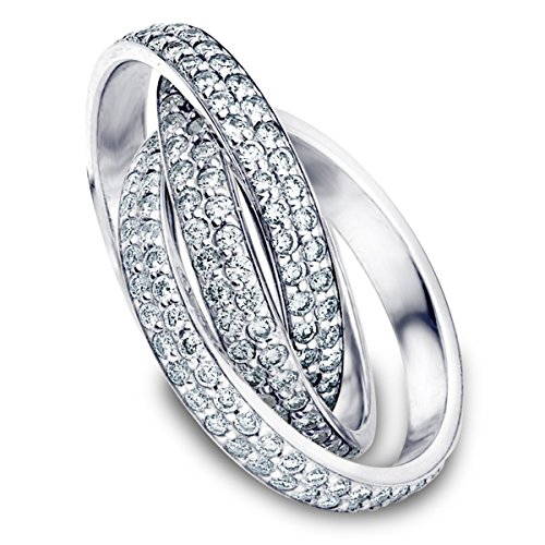 18K White Gold Diamond Rolling Eternity Ring (3.0 cttw, F-G Color, VVS1-VVS2 Clarity) Size 13