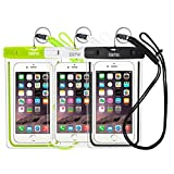 EOTW Universal Waterproof Case, IPX8 Waterproof Phone Pouch with Durable Paracord Lanyard for Device up to 6'' Protect Phone from Waterproof,Snowproof, Dustproof, Scratch Resistant (Black,White,Green)