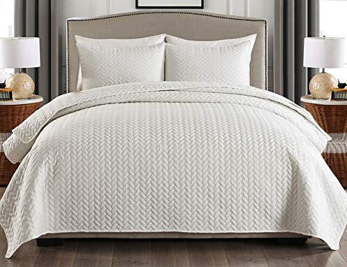 (JML Queen Quilt Set 3-Piece Bedspread Coverlet with Shams - Soft Brushed Microfiber, Lightweight Hypoallergenic All-Season Quilt Bedding (88