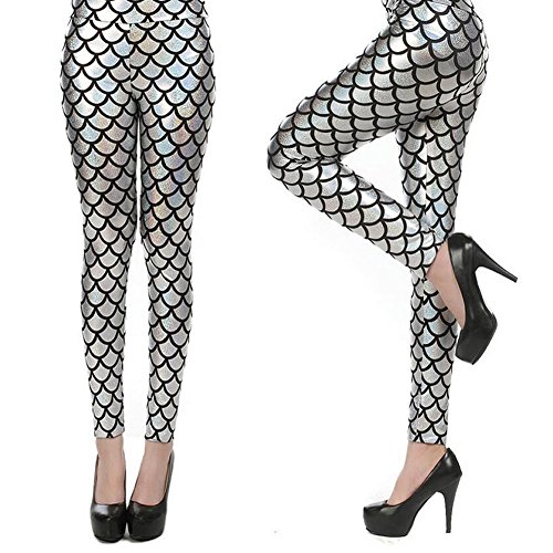 YOBOKO Mermaid Leggings, Mermaid Fish Scale Printed Leggings Stretch Tight Pants for Women Pants S-3XL (L-XL, Silver) by YOBOKO (Image #5)