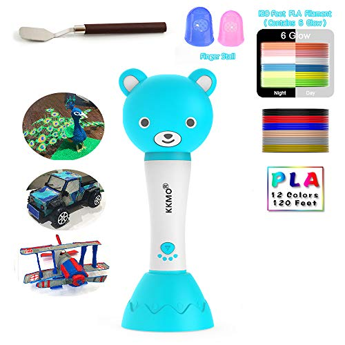 KKMO Cartoon Bear 3D Pen with 16 Colors PLA Filament Refills, 3D Drawing Printing Pen with Voice Prompts Automatic Feeding, Best Birthday Gifts Toys to Inspire Kids Creativity]()