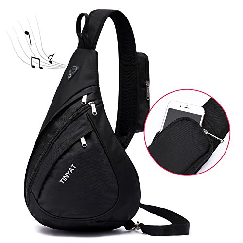 Teardrop Sling - TINYAT Chest Bag Versatile Canvas Sling Bags, Crossbody Backpack for Men Women boys girls, Waterproof Shoulder Pack Bag for Camera/Travel/Sport Hiking/Camping with Waterproof Large Black