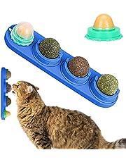 XPuing Kattleksak, kattmynta leksak, kattgodis leksak molar tänder mellanmål leksak, självhäftande kattmynta ätbar väggboll, för katter rengöring tänder och skydd av magen (blå)