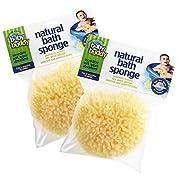 "Baby Buddy's Natural Baby Bath Sponge 2 Pack 4-5"" Ultra Soft Premium Sea Wool Sponge Soft on Baby's Tender Skin, Biodegradable, Hypoallergenic, Absorbent Natural Sea Sponge"