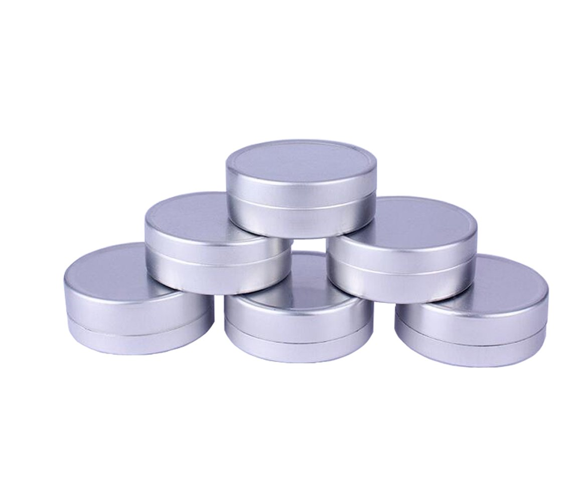 12PCS Silver Empty Aluminum Cosmetic Sample Packing Tins Cases with Flat Top Lids Round Storage Jar Containers for Lip Balm DIY Salves Candles Eye Shadow Powder and Tea (10G/0.34oz) Upstore