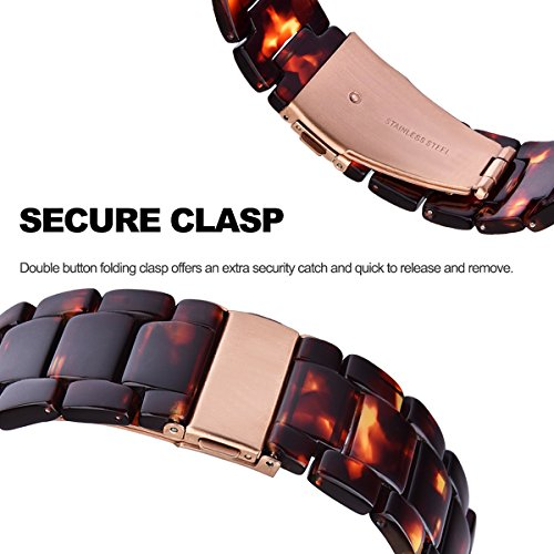 V_moro 38mm Apple Watch Band Women Men- Fashion Resin iWatch Band Bracelet With Copper Stainless Steel Buckle for Apple Watch Series 3 Series 2 Series 1 (Tortoise-tone, 38mm(5''-7.67'')) by V_moro (Image #4)