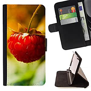 DEVIL CASE - FOR Samsung Galaxy A3 - Fruit Macro Raspberry Lonely - Style PU Leather Case Wallet Flip Stand Flap Closure Cover