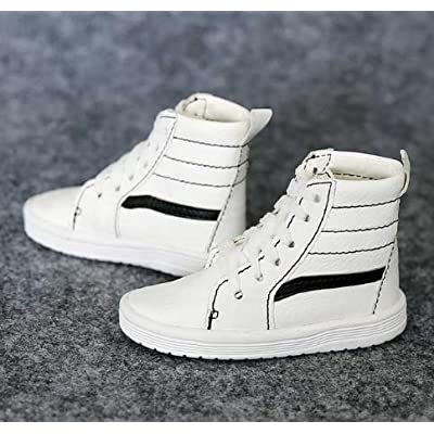 """Studio one 1 Pair White Sports Shoes Flats Synthetic Leather for 1/3 24"""" 60 cm Tall BJD Doll: Toys & Games"""