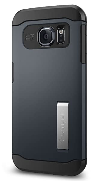 uk availability ce6b1 f8fb6 Spigen Slim Armor Galaxy S6 Edge Case with Kickstand and Air Cushion  Technology and Hybrid Drop Protection for Galaxy S6 Edge 2015 - Metal Slate