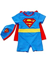 Little Cutie Boys Superman Super Hero Three Piece Rash Guard Swimsuit Set Size 2T-6T