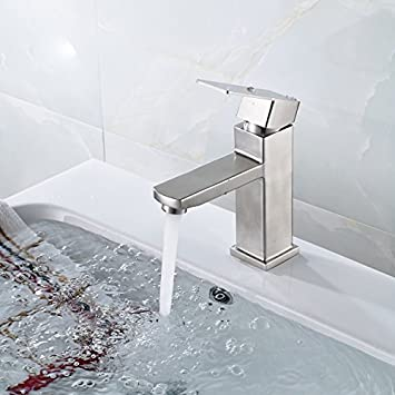 Timaco Wasserhähne Edelstahl Waschbecken Armatur Hebel Badezimmer Nickel  Gebürstet