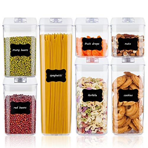 - Airtight Food Storage Containers,Vtopmart 7 Pieces BPA Free Plastic Cereal Containers with Easy Lock Lids,for Kitchen Pantry Organization and Storage,Include 24 Free Chalkboard Labels and 1 Marker