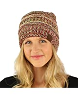 CC Quad Color Warm Chunky Thick Soft Stretch Knit Slouch Beanie Skull Hat