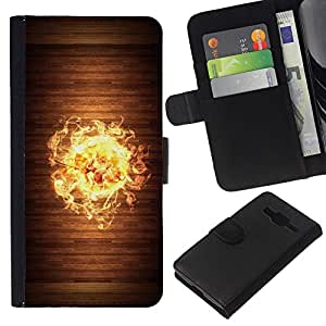 Planetar® Modelo colorido cuero carpeta tirón caso cubierta piel Holster Funda protección Para Samsung Galaxy Core Prime / SM-G360 ( Cool Wood Fire Flame )