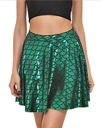 Sommer Röckes Damen Fischschuppen Druck Minirock Mode Falten Kurz Rock Cocktail Party Abend nFo0h