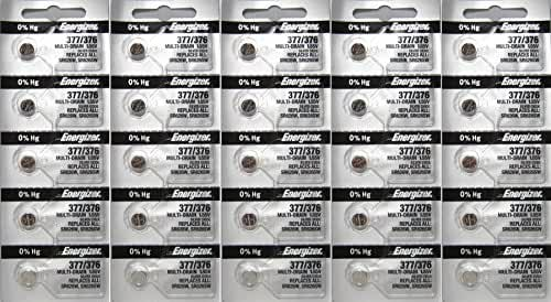 25 Energizer 377-376 1.5v 377/376 Watch/Calculator 0%Hg Mercury Free (5x5) Batteries