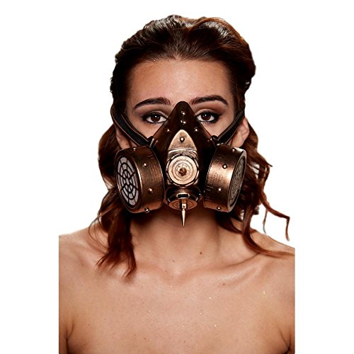 KII Steampunk Gas Mask with 2 Giant Spikes and Studs (Gold)