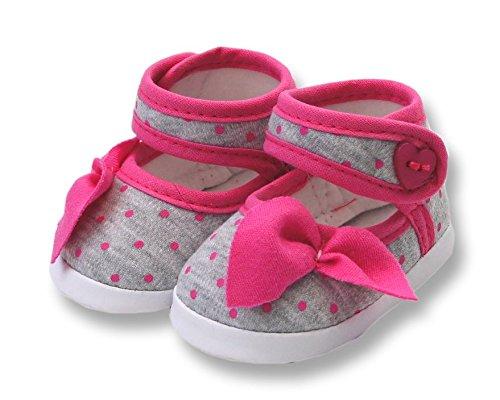 Ikumaal Festlicher Schuh Für Taufe Oder Hochzeit - Taufschuhe Für Baby, Babies, Mädchen, Jungen, Kinder, in Verschiedenen Größen 16-19 Tp36 Grau/Pink
