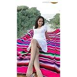 Very Large Colorful Zarape Made in Mexico, Authentic Saltillo (aka Sarape, Serape) Blanket handmade.