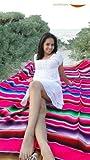 Mexican Sarape Saltillo Blanket (X-large, Pink) Beach *000203*