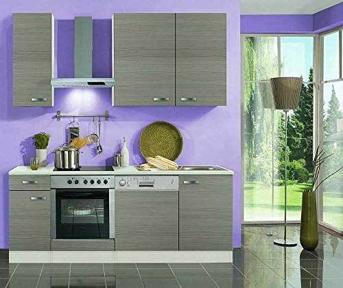Küchenblock mit Geschirrspüler und Glaskeramikkochfeld Vigo 210 cm in Pinie Nachbildung