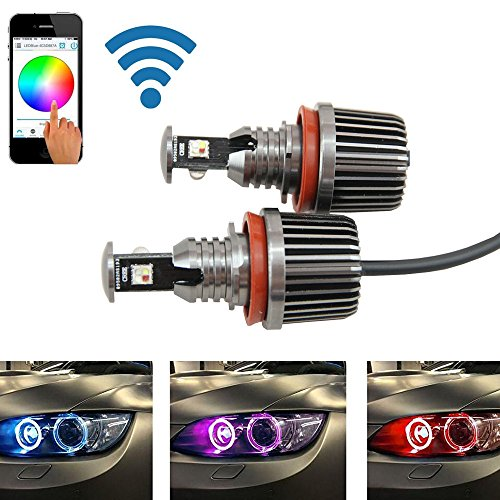 bus wifi control RGB H8 LED Angel Eyes LED marker bulb halo ring for BMW E82 E90 E92 E93 E70 E71 E60 E61 E63 E64 (Bmw Headlight Rings)