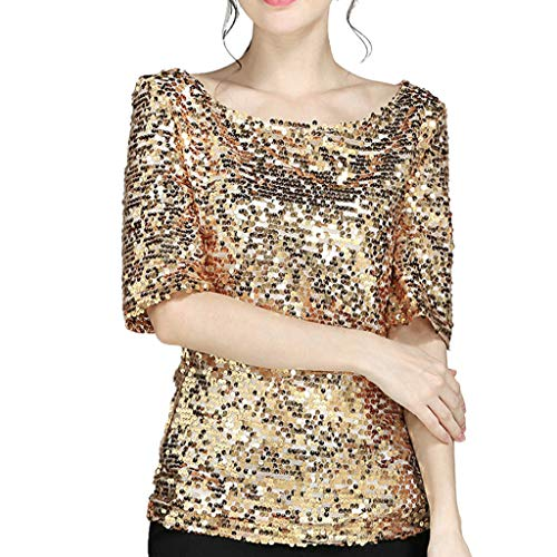 TheRang Women Sequin Top Short Sleeve Boat Neck Sparkle Coctail Party Casual Loose Blouse ()