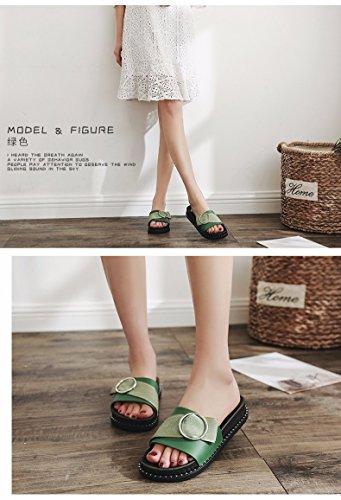 LIUXINDA moda de Liuxinda de fondo de para zapatillas playa XZ botones plano calzado semideslizantes con verde verano de XZZ mujer verano Zapatillas rqnrzvwA