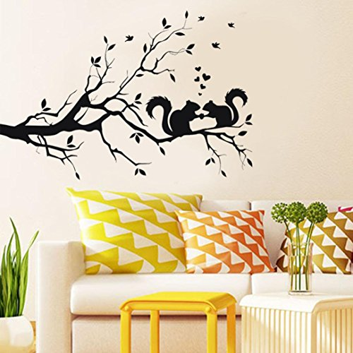 Wall sticker, Hatop Squirrel On Long Tree Branch Wall Sticker Animals Cats Art Decal Kids Room - Of View Ladies On Names The