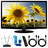 Samsung (UN28H4000) 28-Inch Slim LED HD 720p TV Clear Motion Rate 120 w/ TV Cut the Cord Bundle Includes, Durable HDTV and FM Antenna, Universal Screen Cleaner & 2x 6ft High Speed HDMI Cable – Black