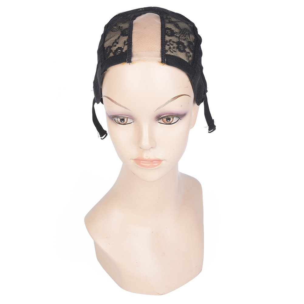 M AliMomo 2 pcs Middle U Part Wig Caps with Adjustable Strap for Making Wigs Free Size Black Dome Mesh Wig Cap for Women (U Part Wig Caps) by M AliMomo (Image #2)