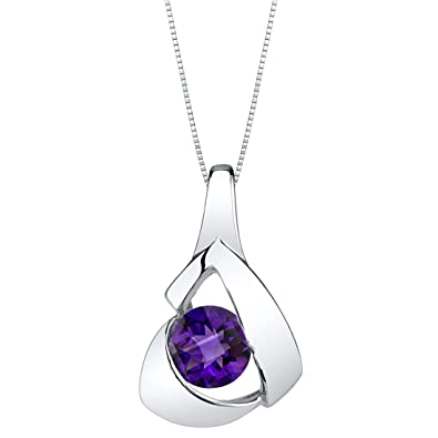 a2af4b45e4e Amazon.com  Amethyst Sterling Silver Chiseled Pendant Necklace  Jewelry